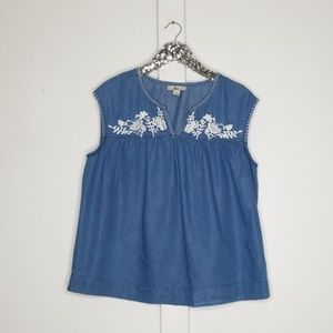 Bass   sleeveless embroidered blouse size large